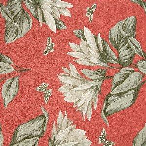 Tecido Jacard Impermeabilizado Floral Tons de Verde Seco e fundo vermelho Tijolo - Coral 13