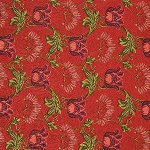 Tecido Jacard Impermeabilizado Floral Vermelho e Verde, Borboletas vermelhas e fundo Rosa antigo - Coral 24