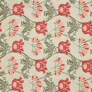 Tecido Jacard Impermeabilizado Floral Rosas Rose e fundo creme - Coral 29