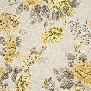 Tecido Jacard Impermeabilizado Floral Bege e Amarelo com fundo creme - Coral 36
