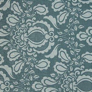 Tecido Jacard Impermeabilizado Brasão Floral Verde  e fundo Verde Claro - Coral 42
