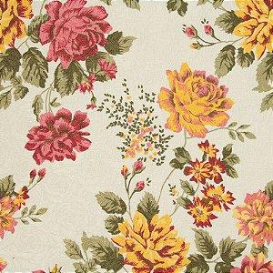 Tecido Jacard Floral Laranja, Lilas, Rosa e fundo creme - Coral 47