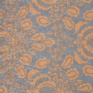 Tecido Jacard Impermeabilizado Brasão Floral Laranja Antigo com fundo cinza - Coral 52