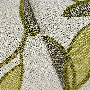 Tecido Estilo Linho Floral Verde Claro e fundo Areia - Safira 6