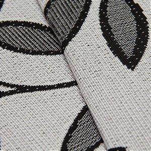 Tecido Estilo Linho Floral Preto com fundo cinza Claro - Safira 20