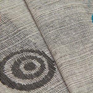 Tecido Estilo Linho Circulos Preto, cinza e Azul Turquesa com fundo Cinza claro - Safira 45