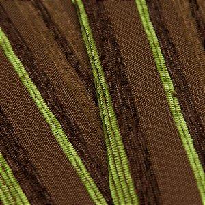 Tecido Estilo Linho Listrados Marrom Escuro, Marrom claro e Verde Limão - Safira 48