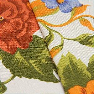 Tecido Florido Vermelho, Laranja e Verde, fundo Branco - Turquesa 1