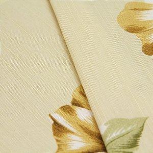 Tecido Florido Marrom, Branco e Verde com fundo Bege Claro - Turquesa 3