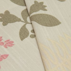 Tecido Floral Verde, Roxo e Branco e fundo areia - Turquesa 9