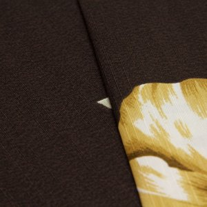 Tecido Floral Marrom claro com fundo Marrom Escuro - Turquesa 11