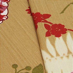 Tecido Floral Vermeho, lilas e Roxo, fundo bege - Turquesa 19