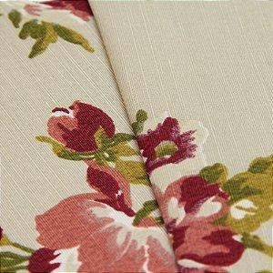 Tecido Floral Roxo, Branco e Verde com fundo areia - Turquesa 20