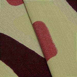 Tecido Quadrados Abstratos Vermelho queimado, Roxo, cinza e Creme - Turquesa 22