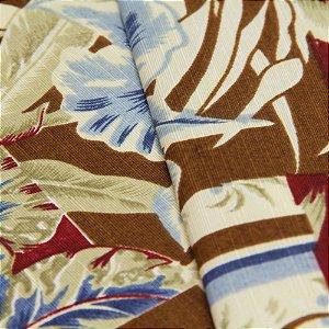 Tecido Floral Estilo Patchwork Azul, Bordo e Marrom - Turquesa 27