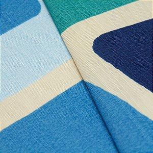 Tecido Quadrados Abstratos Azul, Verde e Creme - Turquesa 33