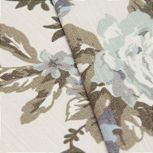 Tecido Floral Tons de Azul e Cinza, fundo creme - Turquesa 35