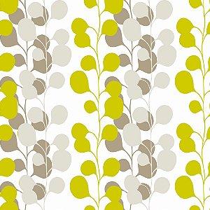 Papel de parede vinílico Floral Verde, Cinza e Branco - Metrópole 820105