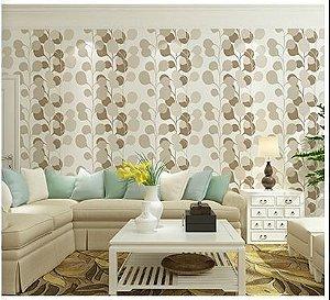 Papel de parede vinílico Floral Branco e tons de Areia - Metrópole 820102