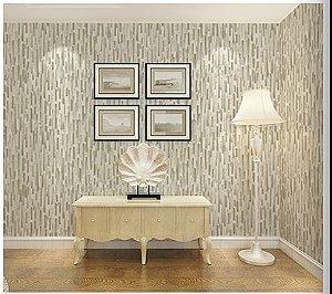 Papel de parede vinílico Barras Tons de Areia e Branco - Metrópole 821002