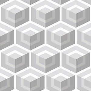 Papel de parede vinílico Geometrico Tons de Cinza e Branco - Metrópole 820201