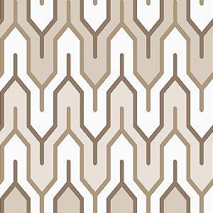 Papel de parede vinílico Geometrico Tons de Marrom e Bege  e Branco - Metrópole 820302