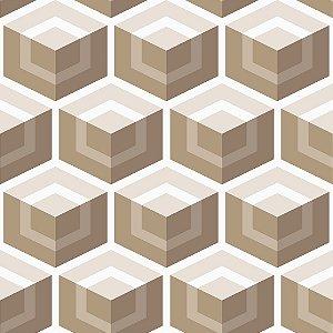 Papel de parede vinílico Geometrico Tons de Marrom e Bege  e Branco - Metrópole 820202