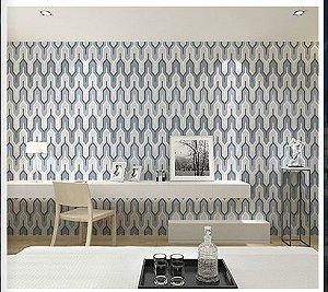 Papel de parede vinílico Geometrico Tons de Azul, Bege  e Branco - Metrópole 820305