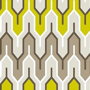 Papel de parede vinílico Geometrico Verde, Preto Cinza e Branco - Metrópole 820304