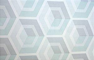 Papel de parede vinílico Geometrico Branco, Cinza e Verde Claro - Metrópole 820205