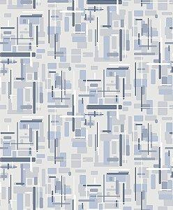 Papel de parede vinílico Abstrato Branco, Cinza e Azul Claro - Metrópole 820403