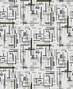 Papel de parede vinílico Abstrato Branco, Cinza e Azul - Metrópole 820404