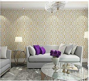 Papel de parede vinílico Gradil Branco, Mostarda e Cinza - Metrópole 820704