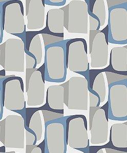 Papel de parede vinílico Abstrato Branco, Azul e Cinza - Metrópole 820803