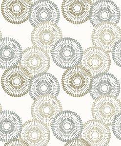 Papel de parede vinílico Circulos Tons de Bege Claro, Azul e Branco - Metrópole 820902