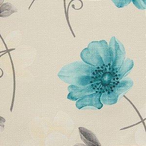 Tecido Jacquard Floral Cinza, Creme e Verde Agua - Irl 8
