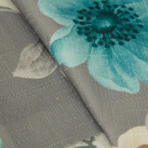 Tecido Jacquard Floral Cinza, Creme e Verde Agua - Irl 9