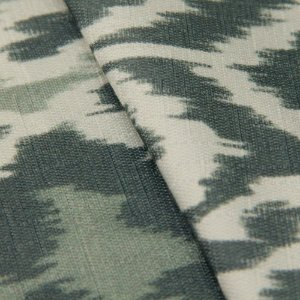 Tecido Jacquard Ikat Tons de Verde,  Cinza e Branco - Irl 13