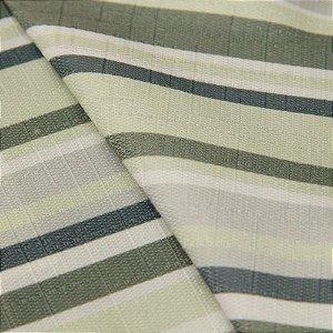 Tecido Jacquard Listrado Tons de Verde Claro, Cinza e Branco - Irl 14