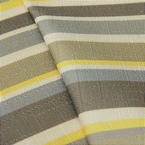 Tecido Jacquard Listrado Tons de Fendi, Cinza, Amarelo e Branco - Irl 19