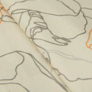 Tecido Jacquard Floral Laranja, bege e Cinza - Irl 39