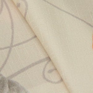 Tecido Jacquard Floral Laranja, bege e Cinza - Irl 40