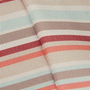 Tecido Jacquard Listrado Laranja, Roxo, Azul, Branco e Bege Claro - Irl 43