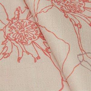 Tecido Jacquard Floral Fundo rose claro, Vermelho e Roxo - Irl 45