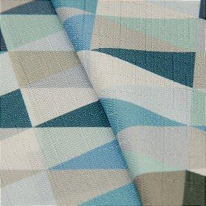 Tecido Jacquard triangulos Tons de Azul, Verde e Branco - Irl 50