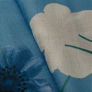 Tecido Jacquard Floral Fundo Azul e flores Creme, Azul e Verde - Irl 55