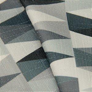 Tecido Jacquard triangulos Branco, cinza e Preto - Irl 58