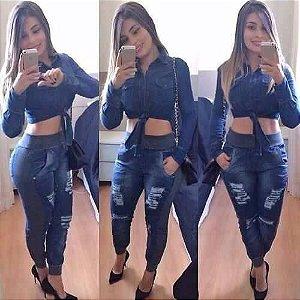 Calça jeans moletom azul escuro