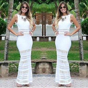 Vestido Longo trico Branco Top