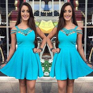 Vestido Jacard Azul turquesa